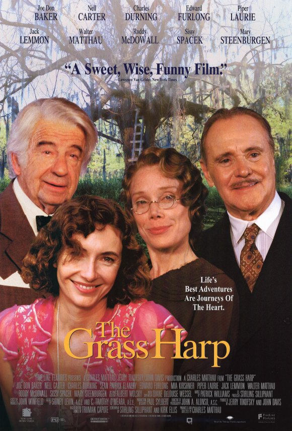 a review of film the grass harp Helmer charles matthau combines a sensitive screenplay adaptation of truman capote's autobiographical novel the grass harp with a wonderful ensemble cast to create a jewel of a film fine line .