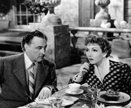 Claudette Colbert and John Barrymore plotting in Midnight