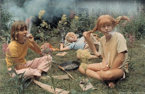 Pippi smoking the weed